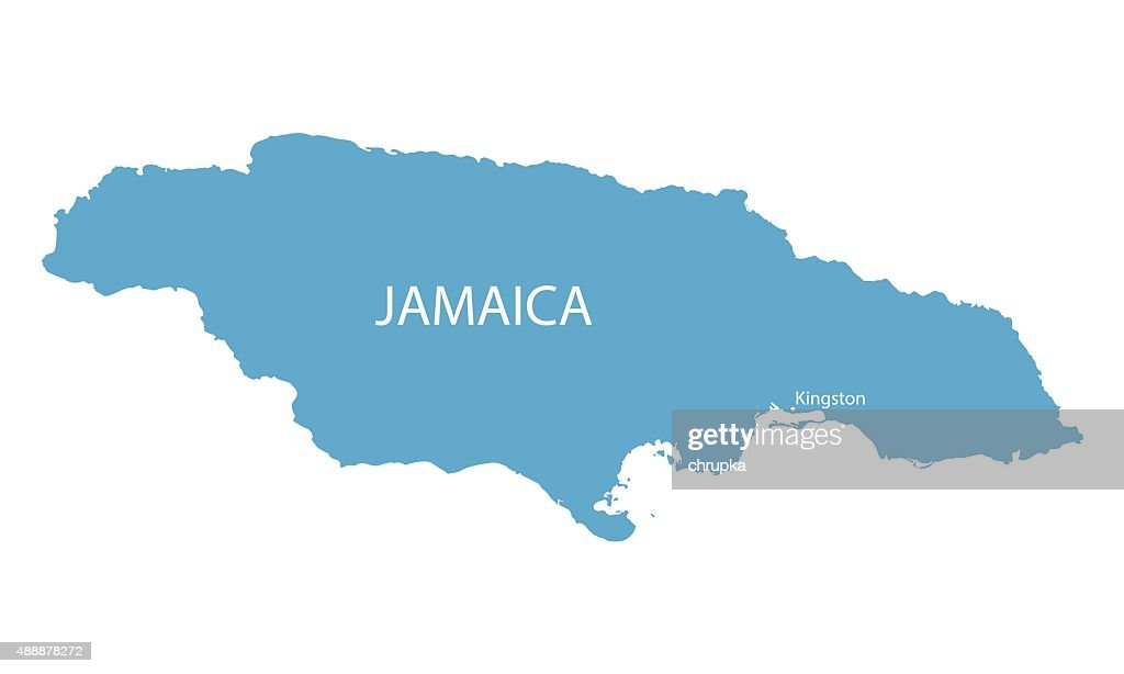blue map of Jamaica