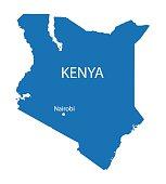 blue map of Kenya