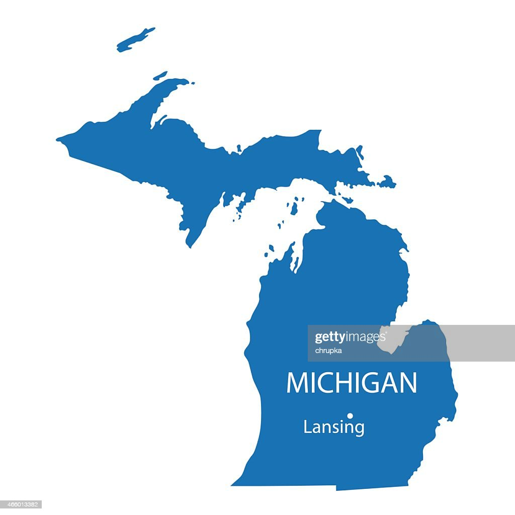 blue map of Michigan