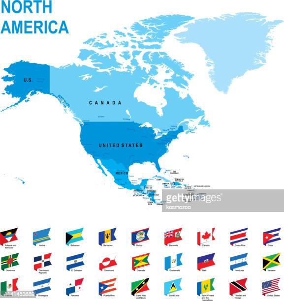 blue map of north america with flag against white background - north america stock illustrations