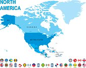 Blue map of North America with flag against white background