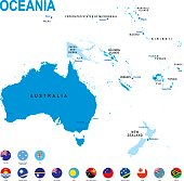 Blue map of Oceania with flag against white background