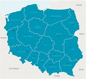 A blue map of Poland showing the regions