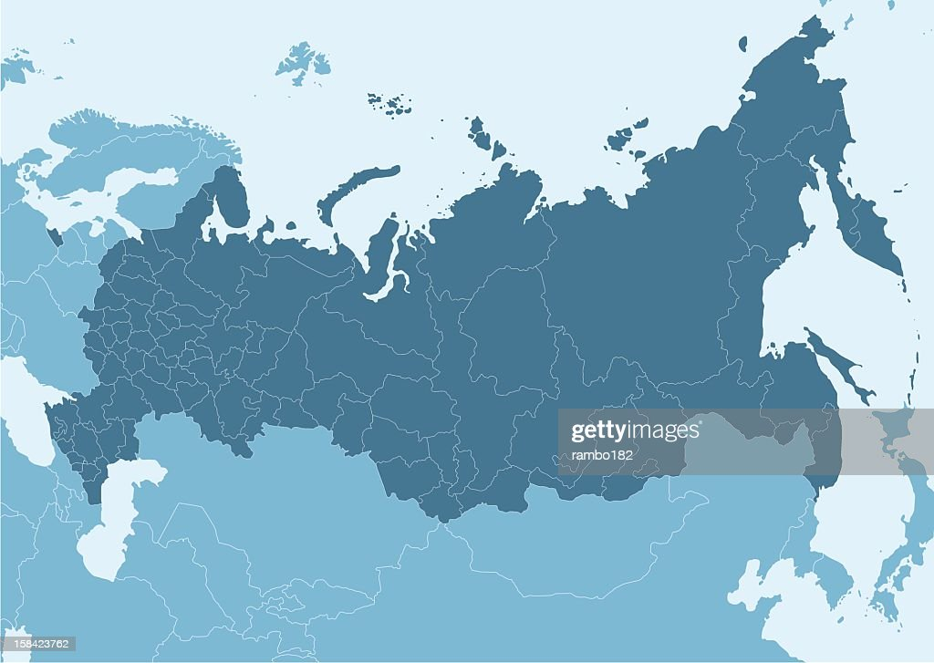 Blue map of Russia with white border lines