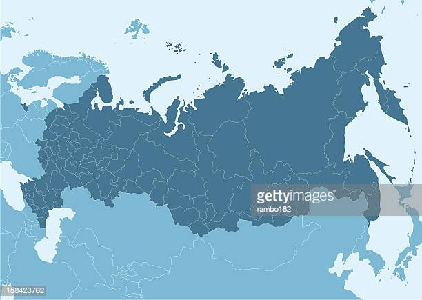blue map of russia with white border lines - russia stock illustrations