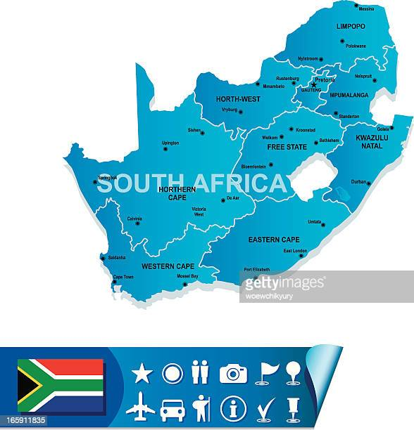 Blue map of south Africa divided by region