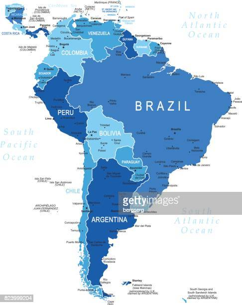 Blue Map of South America