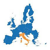 blue map of the European Union with indication of Italy