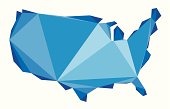 blue map of the USA in origami style