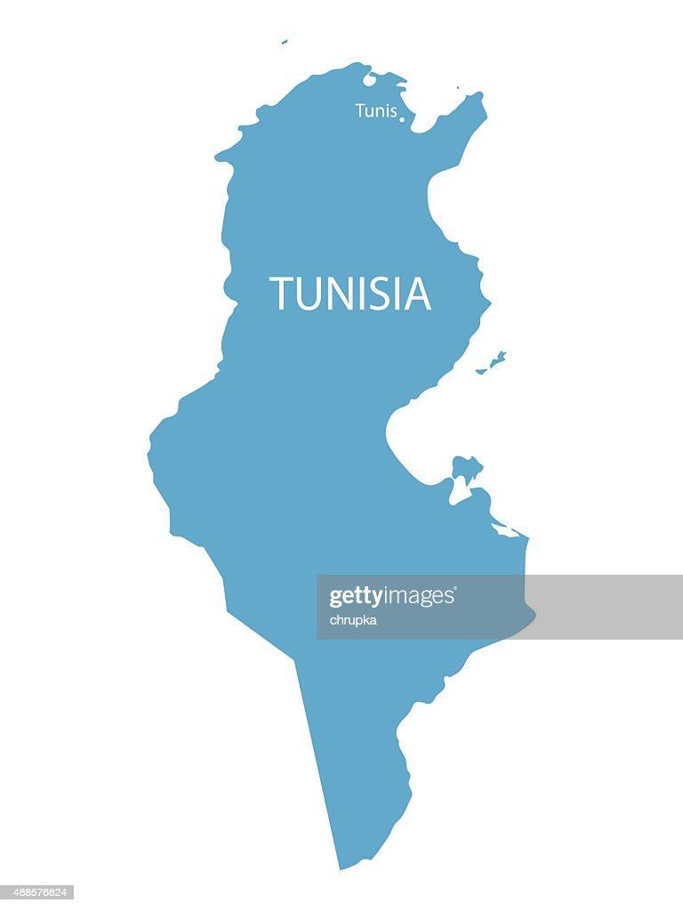 blue map of Tunisia
