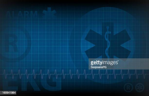 blue medical background - monitoring of heart rate illustration - listening to heartbeat stock illustrations, clip art, cartoons, & icons