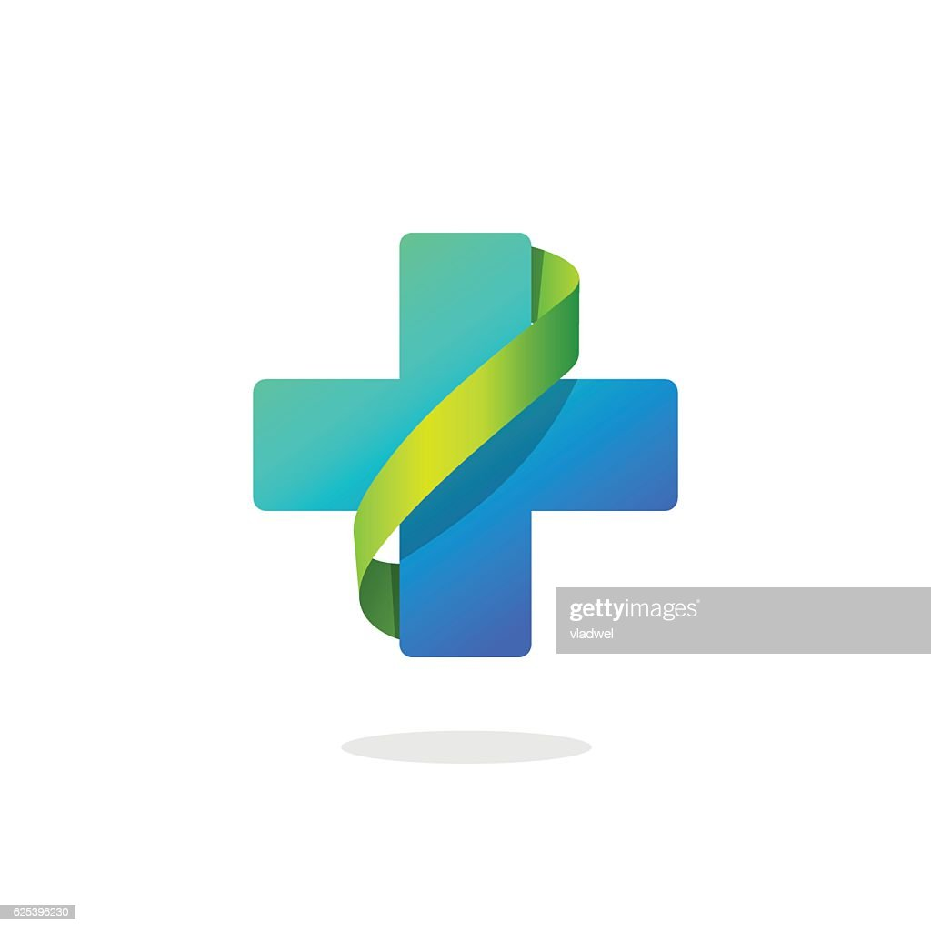 Blue medical cross vector logo, pharmacy symbol with green ribbon