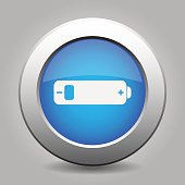 blue metal button with battery low
