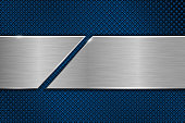 Blue metal perforated background with cut brushed plate