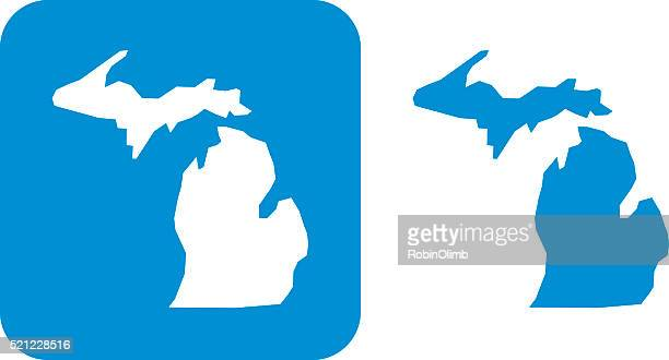 blue michigan icon - michigan stock illustrations