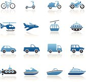 Blue Mode of Transport Icon Set