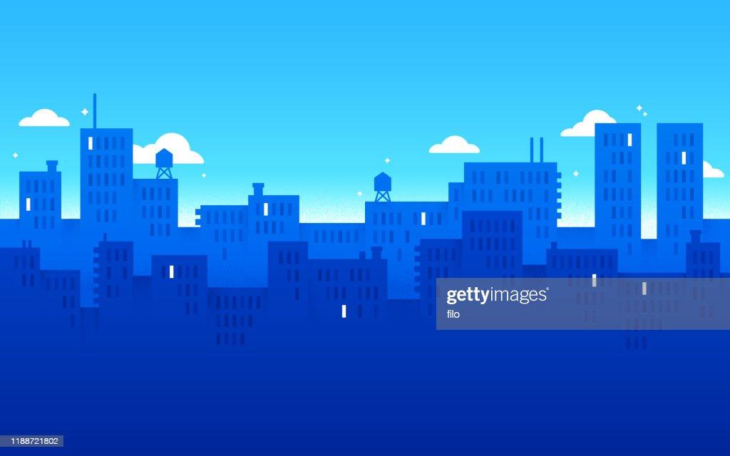 ブルーモダンシティアーバン背景 : ストックイラストレーション