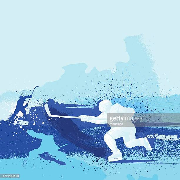 blue monochrome illustrated hockey design - ice hockey stock illustrations
