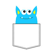 Blue monster silhouette in the pocket looking up. Cute cartoon scary funny baby character. T-shirt design. Eyes, fang tooth, ears. White background. Happy Halloween. Flat design.
