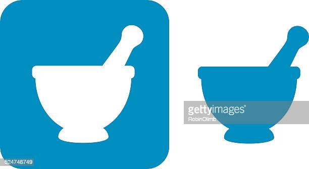 blue mortar and pestleicons - mortar and pestle stock illustrations, clip art, cartoons, & icons
