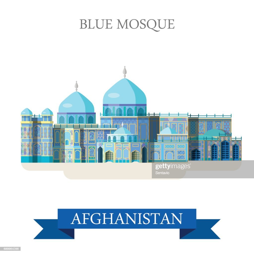 Blue Mosque in Afghanistan. Flat cartoon style historic sight showplace attraction web site vector illustration. World countries cities vacation travel sightseeing Asia Afghan collection.