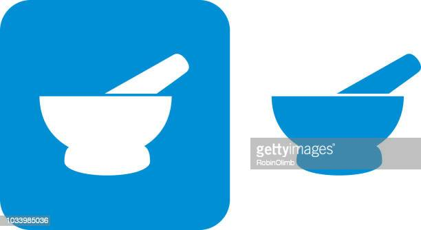 blue motar and pestle icons - mortar and pestle stock illustrations, clip art, cartoons, & icons