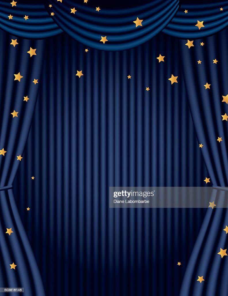 Blue Movie Theatre Curtain With Gold Stars Vector Art | Getty Images