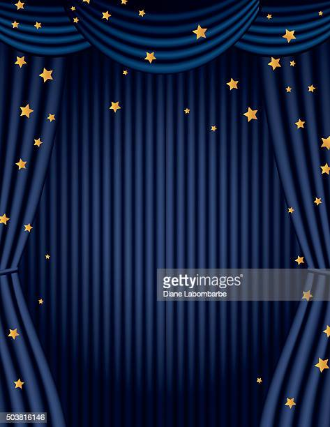 Blue Movie Theatre Curtain With Gold Stars