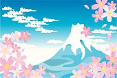 Blue Mt.Fuji and cherry blossoms