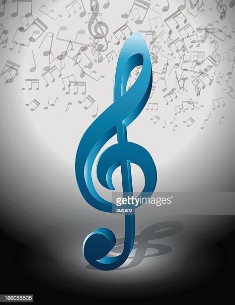 illustrazioni stock, clip art, cartoni animati e icone di tendenza di blu chiave di musica - chiave di violino