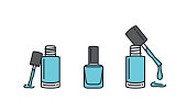 Blue nail polish in clear bottle with line icon style