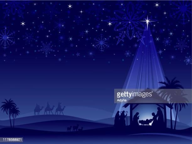 blue nativity - christmas crib stock illustrations
