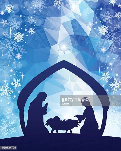 ilustraciones, imágenes clip art, dibujos animados e iconos de stock de nativity azul - nacimiento de navidad