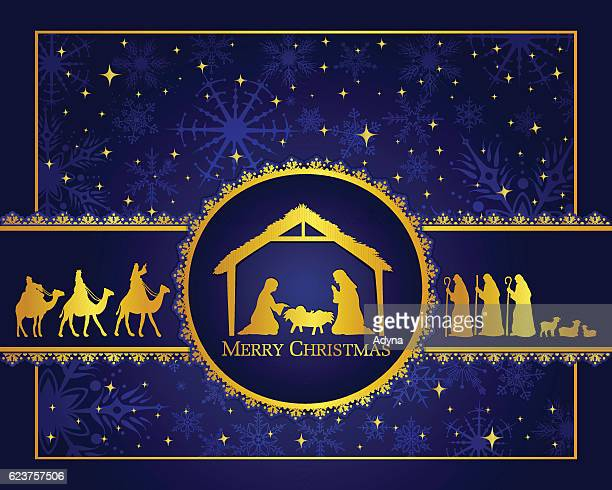 ilustraciones, imágenes clip art, dibujos animados e iconos de stock de nativity azul - lostresreyesmagos
