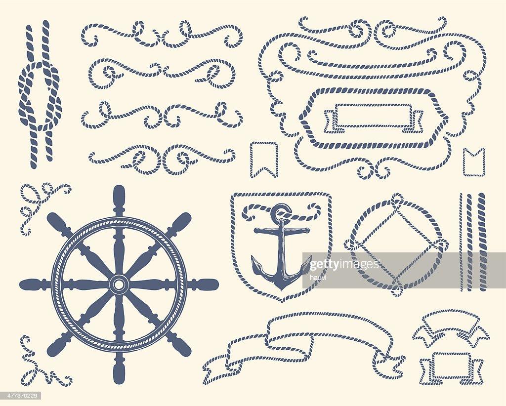 Blue nautical decoration illustration set