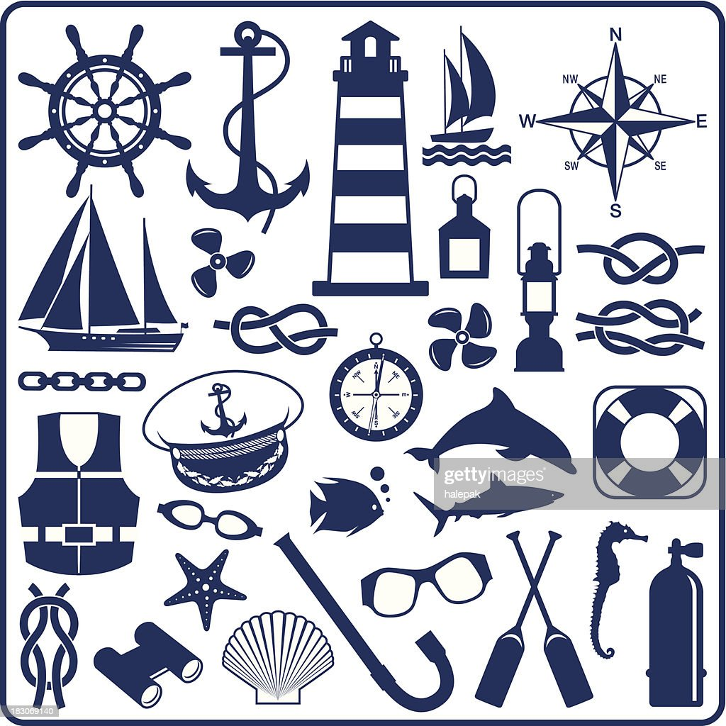 Blue nautical symbols