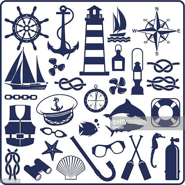 blue nautical symbols - lighthouse stock illustrations
