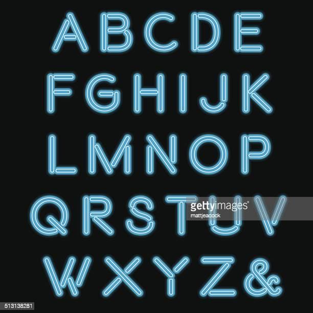 stockillustraties, clipart, cartoons en iconen met blue neon alphabet - fluorescerende