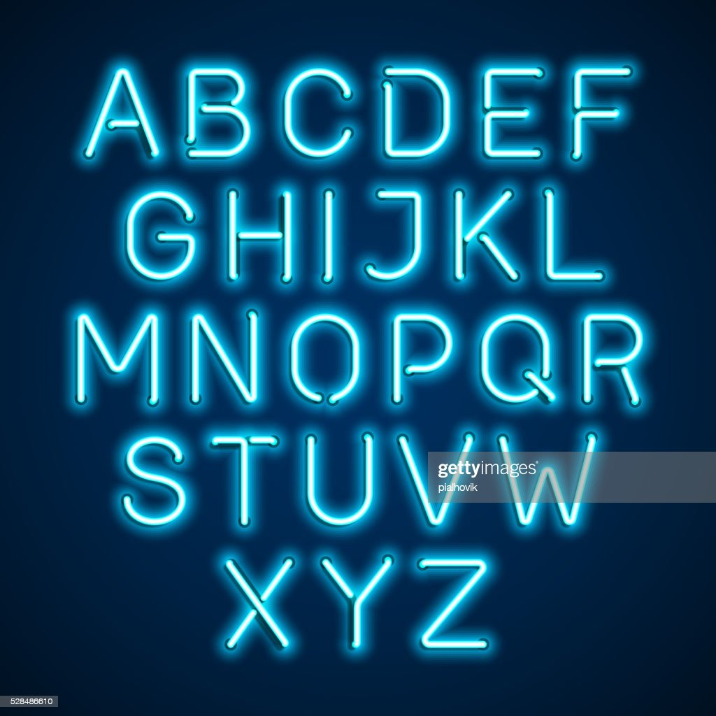 Blue neon light glowing alphabet