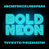 Blue neon tube alphabet font. Bold letters and numbers.