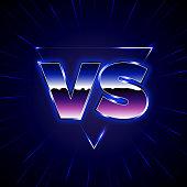 Blue Neon Versus Emblem. VS Vector Letters Illustration