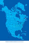 Blue North America Map with Travel Icons-Vector Illustration