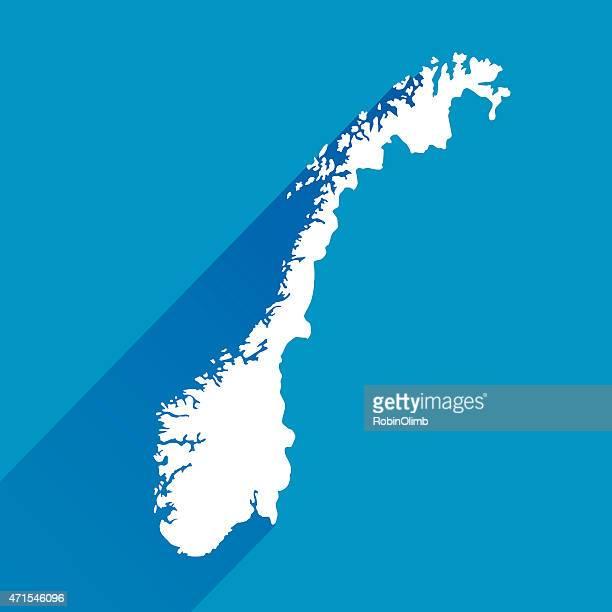 Norwegen Karte, Symbol blau