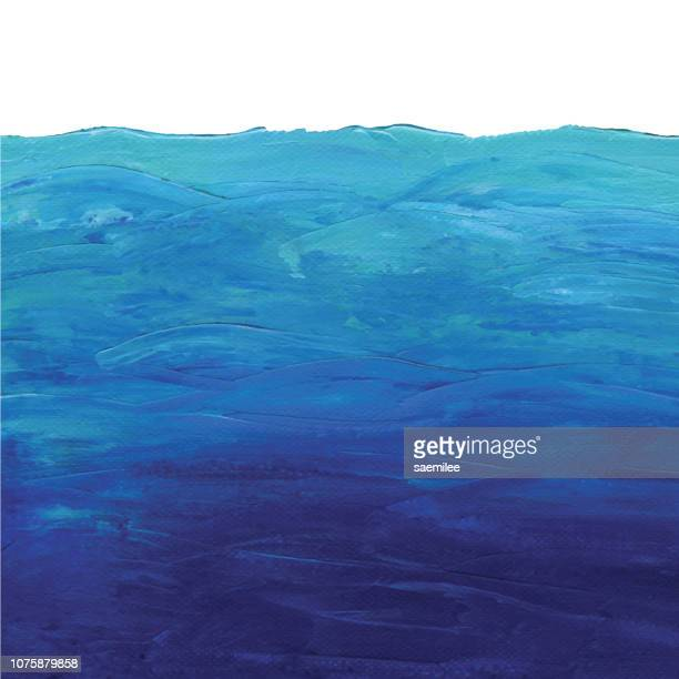 blue ocean background acrylic painting - sea stock illustrations
