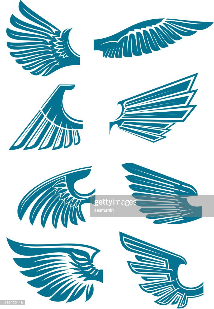 Blue open wings symbols for tattoo design