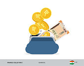Blue opened purse with 200 Indian Rupee Banknote and coins. Flat style vector illustration. Business concept.