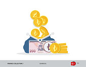 Blue opened purse with 200 Turkish Lira Banknote and coins. Flat style vector illustration. Business concept.