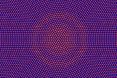 Blue orange dotted halftone. Concentric radial dotted gradient. Half tone vector background.