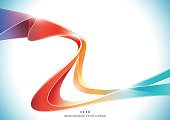 Blue orange red colorful wave stripe abstract Background, transparent vector