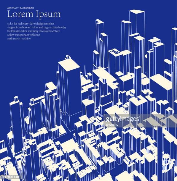 青は、近代的な都市の建物構造ポスターを見下ろす - 都市景観点のイラスト素材/クリップアート素材/マンガ素材/アイコン素材